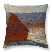 Monet Claude Haystack Snow Effect  Cat Throw Pillow