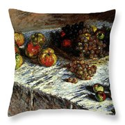 Monet Claude Still Life Apples And Grapes Throw Pillow