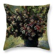 Monet Claude Vase Of Flowers Throw Pillow