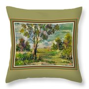 Monetcalia Catus 1 No. 3 Landscape Scene Near Fontainebleau L B With Alt. Decorative Printed Frame. Throw Pillow