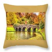 Monetcalia Catus 1 No. 9 - Monet Decides To Paint The Arched Bridge At Stourhead. L A S Throw Pillow