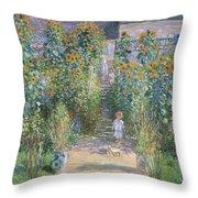 Monet's Garden At Vetheuil Throw Pillow