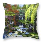 Monets Garden Painting Palette Knife Throw Pillow
