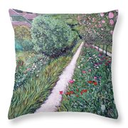Monet's Garden Path Throw Pillow