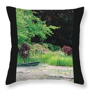 Monet's Garden Pond And Boat Throw Pillow