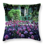 Monet's House With Tulips Throw Pillow