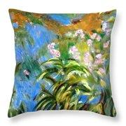 Monet's Irises Throw Pillow