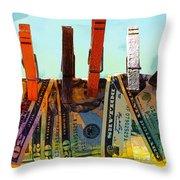 Money Laundering  Throw Pillow by Karon Melillo DeVega