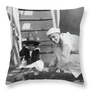 Monkey On The Ship Throw Pillow