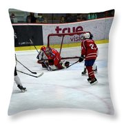 Mongolia Team Players Defend Goal Vs Malaysia In Ice Hockey Match In Rink Bangkok Thailand Throw Pillow