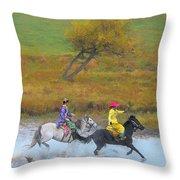 Mongolian Rider Throw Pillow