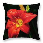Monikas Red Lily Throw Pillow