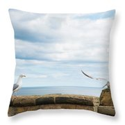 Monitored Seagull Take-off Throw Pillow