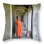 Monk Among The Ruins At Angkor Wat, Cambodia Throw Pillow