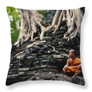Monk At Preah Palilay Temple Throw Pillow