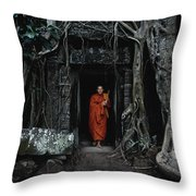 Monk At  Ta Prohm Temple  Throw Pillow