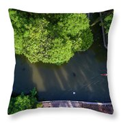 Monk Rowing Boat Along Floating Market Aerial View Throw Pillow by Pradeep Raja PRINTS