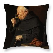 Monk With A Wine Throw Pillow