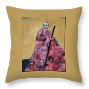 Monk With Walking Stick Throw Pillow
