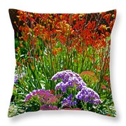 Yellow-orange Kangaroo Paws And Sea Lavender By Napier At Pilgrim Place In Claremont-california Throw Pillow