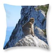 Monkey In Gibraltar Throw Pillow
