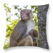 Monkey Mom Throw Pillow