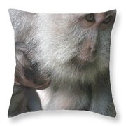 Monkey Mother 3 Throw Pillow