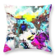 Monkey Painted Italy Pastels Throw Pillow