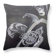 Monkey Playing Tuba Throw Pillow