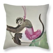 Monkey Swinging In The Trees Throw Pillow