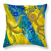 Monkeys And Sunbeams Throw Pillow