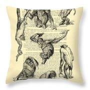 Monkeys Black And White Illustration Throw Pillow
