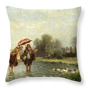Monks And Ducks Throw Pillow