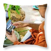 Monks Blessing Buddhist Wedding Ring Ceremony In Cambodia Asia Throw Pillow