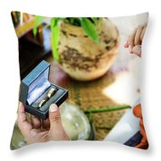 Monks Blessing Buddhist Wedding Ring Ceremony In Cambodia Throw Pillow
