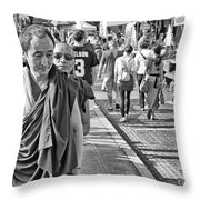 Monks Out And About Throw Pillow