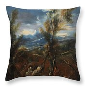 Monks Resting In A Wood Throw Pillow