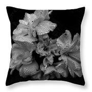 Mono Flower Chrome Throw Pillow