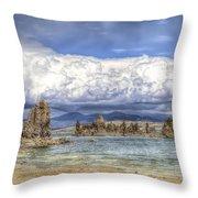Mono Lake Tufas And Clouds Throw Pillow