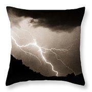 Mono Tone Lightning Striking The Ridge Throw Pillow