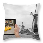 Monochromatic Concept Travel To Netherlands Throw Pillow