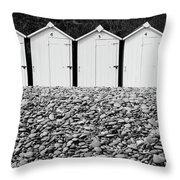 Monochrome Beach Huts Throw Pillow