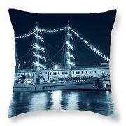 Monochrome Blue Boston Tall Ships At Night Boston Ma Throw Pillow