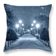 Monochrome Blue Nights Boston Public Garden Snow Storm Ma Massachusetts Bridge Lights Throw Pillow