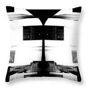 Monochrome Building Symmetry Abstract Throw Pillow