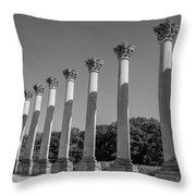 Monochrome Columns Throw Pillow