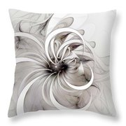 Monochrome Flower Throw Pillow