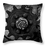 Monochrome Gear Throw Pillow