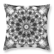 Monochrome Kaleidoscope Throw Pillow