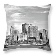 Monochrome Pittsburgh Panorama Throw Pillow